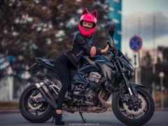 мотоцикл, шлем, девушка