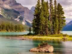 остров, озеро, mountains