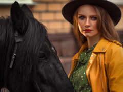 девушка, лошадь, глаз