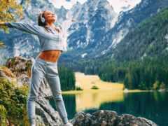фитнес, гора, наушник
