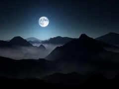 гора, луна, landscape