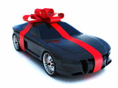 car, gift, wrapped