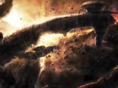 чужие, метеориты, корабль