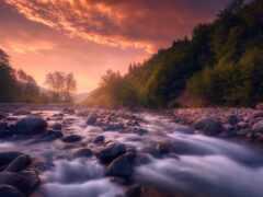 река, небо, рассвет