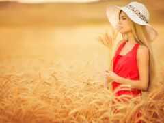 поле, девушка, колосок