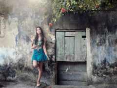 модель, женщина, стена