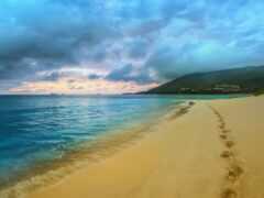 песок, след, пляж