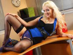 faye, secretaries, stockings
