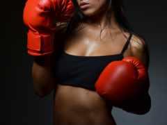 девушка, boxing, перчатки