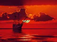 море, red, sun
