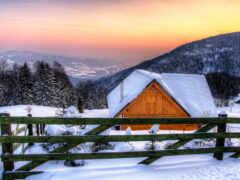 снег, горы, winter