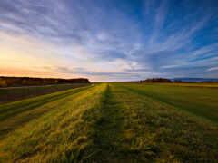 горизонт, поле, небо