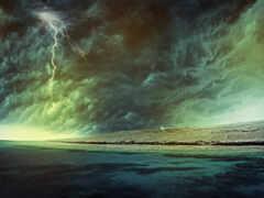 буря, lightning, море