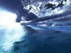 остров, облако, рассвет