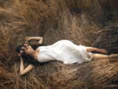девушка, траве, лежит