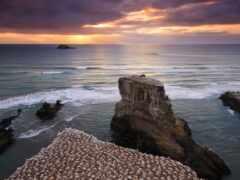 закат, природа, море
