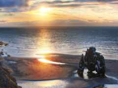 kneel, горизонт, море