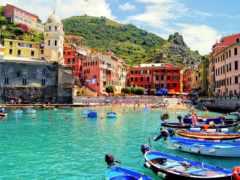 vernazza, город, море