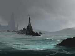 море, art, туман