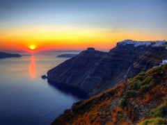 santorini, greece, закат