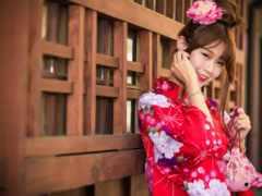 девушка, asian, кимоно