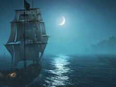луна, корабль, море
