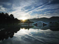 восход, солнца, мостик