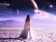 девушка, planet, небо
