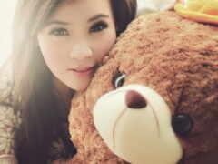 toy, девушка, медведь