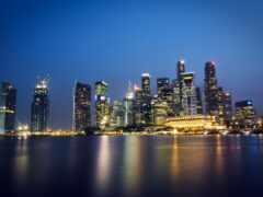 город, ночь, singapore