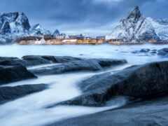 winter, qish, fjord