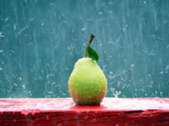 дождь, груша, долька