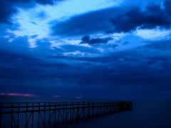 море, ночное, pier