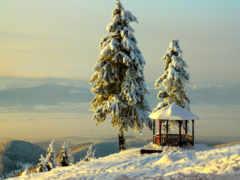 снег, winter, горы