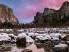 река, гора, winter