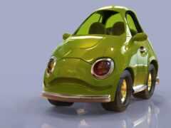 cartoon, car, cherry