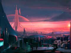 будущее, красивый, город