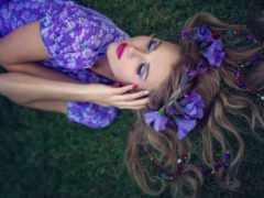 девушка, платье, фиолетовом