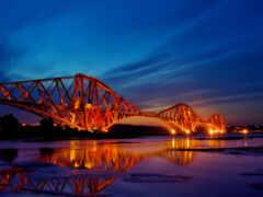 мост, город, вечер