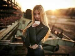 девушка, leather, поза