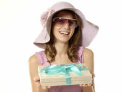 девушка, подарок, подарком