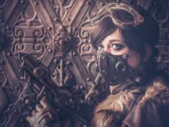 steampunk, маска, девушка