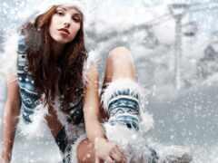 красивый, девушка, winter