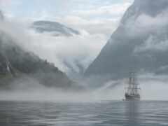 норвегия, гора, корабль