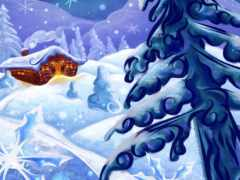 snow, cottage, abstract
