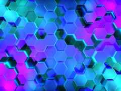 neon, hexagon, супер