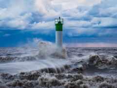 lighthouse, буря, море