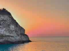 море, закат, лунно