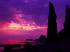 закат, розовый, япония