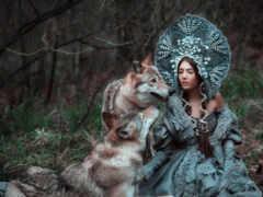 тематика, волк, девушка